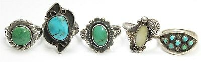 Vintage 5-Piece Native American Navajo Sterling Silver Turquoise Rings Lot 925