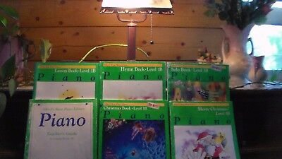 6 Alfred's Piano Music Books Level 1B Lesson, Solo, Hymn, 2 Christmas, Teacher