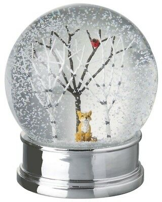 Large Traditional Christmas Snow Globe with Fox and Robin Scene Heaven Sends