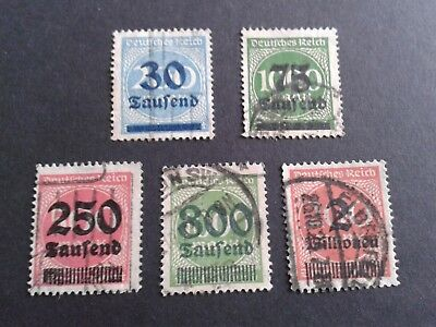 1923  Deutsches Reich  used Overprinted Recession stamps