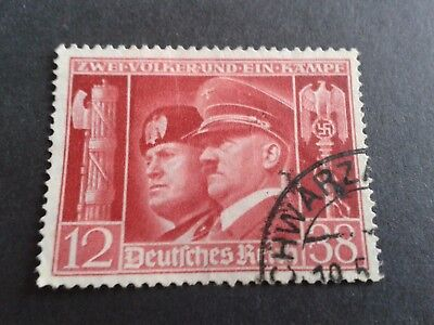 1941   (Deutsches Reich) Hitler's Culture Fund used stamp with Mussolini