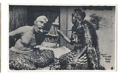 "RPPC New Zealand, Maori man being fed is Tapu ""not to be touched"""