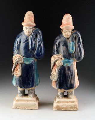 *sc*interesting Pair Of Ming Dynasty Pottery Attendant Tomb Figures!!