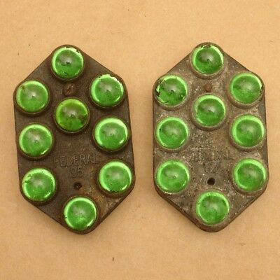 Pair of Antique Vintage FEDERAL 95 Green Glass Marble Reflectors,As Found,Auto