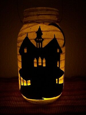 Primitive Haunted House Lantern Candle Halloween jar party porch Gift antiqued