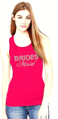 Hot Pink Big Bling Rhinestone Bridesmaid Lace Racerback Tank Factory Seconds