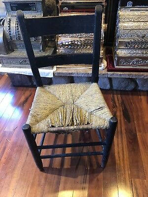 Antique Wood Chair Caning Very Old Primitive Shaker