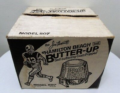 Vintage Hamilton Beach Joe Namath Butter-Up Self Buttering Corn Popper #507-New