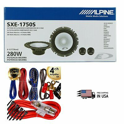 "Alpine SXE-1750S 6.5"" Car Speaker Package w/ 300 Watt Amplifier + 8 gauge Kit"