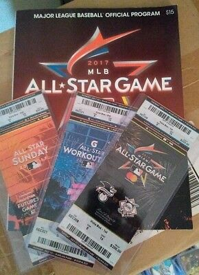 2017 MLB All Star (3 Game Pack) Ticket Stubs in holder & Official Program