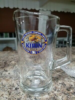 Japan's Oldest Beer KIRIN Brewery Company, Ltd Heavy Glass Pitcher Vintage