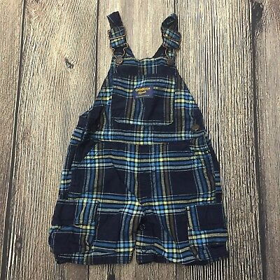 Oshkosh Bgosh Baby Vestbak Overalls Size 12 Months Boy Blue Plaid Shortalls