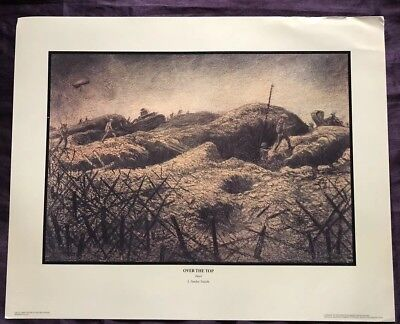 World War I US Army Art - Over The Top by J. Andre Smith - WW1 Lithograph