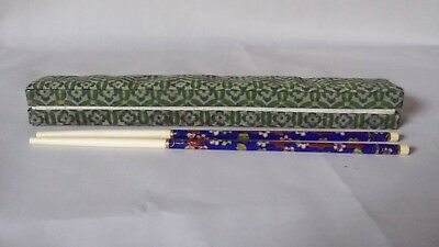 Vintage Chinese Flower Blue Cloisonne Pair of Chopsticks and Silk Case