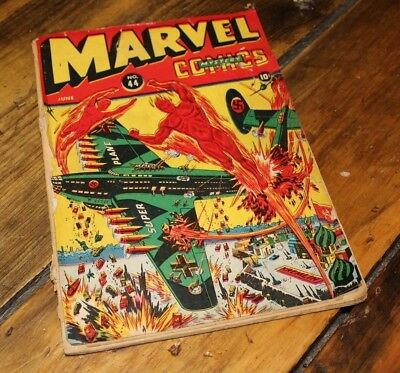 1943 Marvel Mystery Comics 44  SUB-MARINER / HUMAN TORCH Alex Schomburg Cover