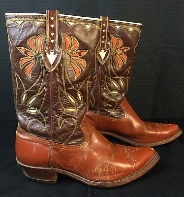 VINTAGE ACME COWBOY BOOTS PEEWEE INLAY CUT OUT ARROWHEAD Size 10.5
