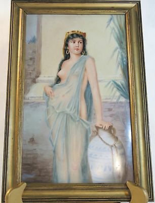 Beautiful Kpm Porcelain Plaque Of Nude Cleopatra, Large Framed.
