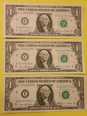 Three Consecutive Serial Number Banknotes Series 1969D $1 FRB Look UNC