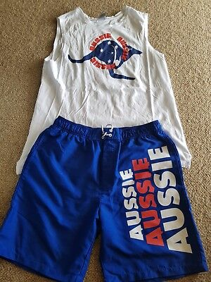 Size 14 /s Aussie Singlet And Boardshorts.  Unisex. Pre Owned