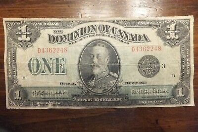 1923 $1 One Dollar The Dominion of Canada  with a Black Seal