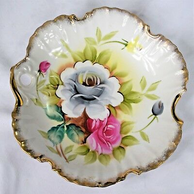 Vintage Hand Painted LENWILE CHINA ARDALT JAPAN  #6200N  Dish - Roses Gilded