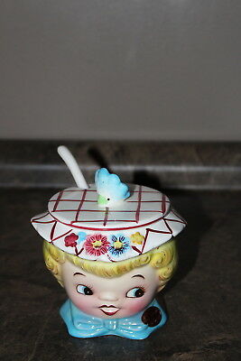 Vintage Lefton ESD Sugar Bowl with plastic spoon Green Stamp on bottom Girl Head