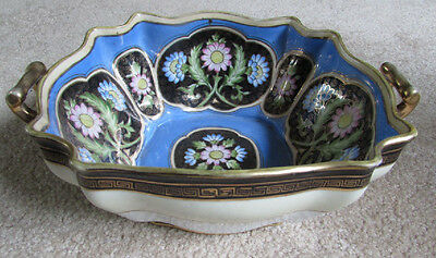 Large Antique Nippon Hand Painted Floral & Blue Bowl