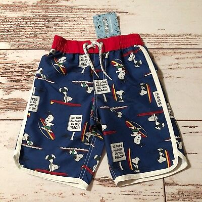 Hanna Andersson 100 NWT Snoopy Camp Swim Trunks Boys 4