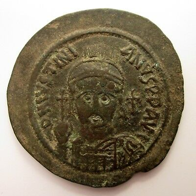 527-565 AD Byzantine Empire JUSTINIAN I Ancient Coin AE FOLLIS Nicomedia BRONZE