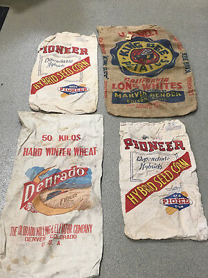 Lot of 4 Seed Sacks (4) PIONEER DENRADO Burlap Potato Bag PIONEER SEED SACKS