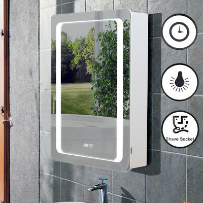 Electric LED Bathroom Shelf Mirror Wall Cabinet Demister Pad with Sensor Switch