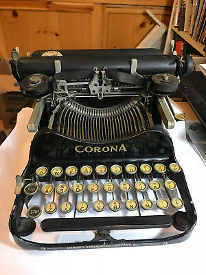 Antique Vintage Corona No 3 Folding Portable Typewriter WITH ORIGINAL CARRY CASE