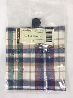 Longaberger Basket~Handle Gripper w/Button~WT Plaid Fabric~Retired~NIP