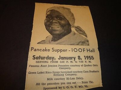 Rare Vtg Advertising Aunt Jemima Promotion Dated Feb 1955 Corn Syrup Pancake IA
