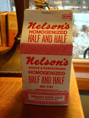 Faribault Minn Advertising Nelsons Grocery Milk Carton Vintage Nos