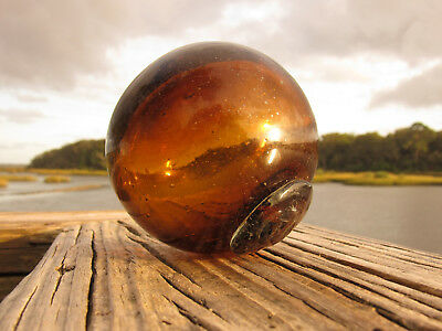 """Vintage Glass Fishing Float In Amber Rootbeer 12.5"""""""