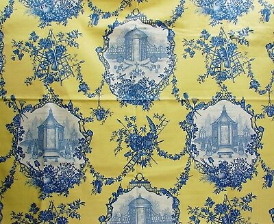 OOP Braemore Gazebo Garden Print Cotton Toile Blue on Yellow - 55 x 2+Yds