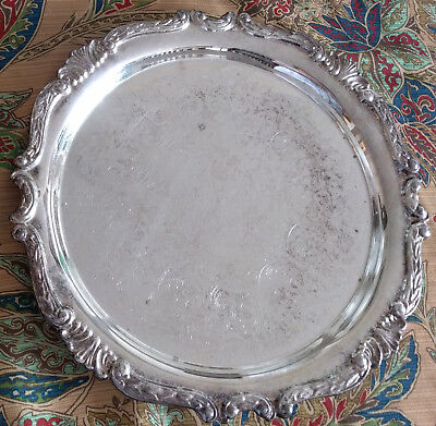 """Vintage Sheridan Silverplate 12"""" Round Serving Tray"""