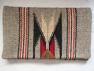 Old Vtg Chimayo by Ganscraft Hammered Clasp Grey Wool Hand Woven Clutch Purse