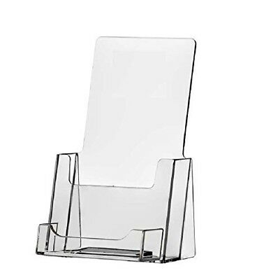 Lot Of 12 Clear Acrylic Tri Fold Brochure Holder With Business Card