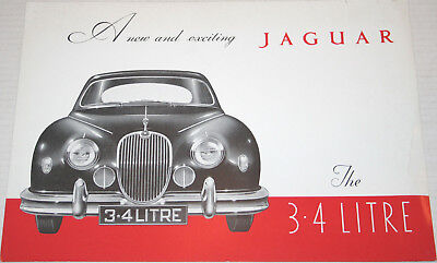 1957 JAGUAR 3.4 Liter Saloon foldout ORIGINAL sales brochure
