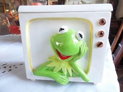 Kermit The Frog Cookie Jar  Jim Henderson Muppet Hand Painted Ceramics  By Sigma