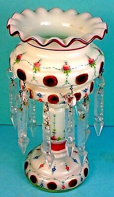 Vintage Bohemian Enameled White & Ruby Red Overlay Glass Mantle Luster