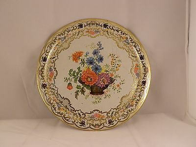 """DAHER STYLED TRAY """"Floral Basket Style"""" Metal Tray MADE IN ENGLAND #823"""