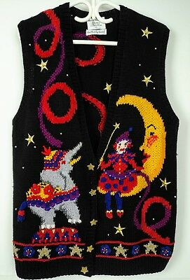 Vintage Womens Ugly Vest Sweater Sz S Hand Knitted Circus Elephant Marisa Christ
