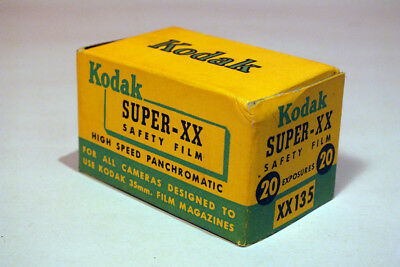 Vintage Kodak 35mm Film with Canister  Super XX XX135 1952 NEW OLD STOCK in Box