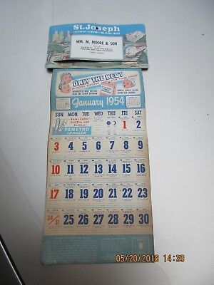 1954 St Joseph Drug Store Calender Complete And Great Shape Great Car Show Item