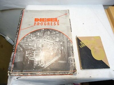February 1943 Diesel Engines Progress Magazine & 1945 Diesel Lubrication Booklet
