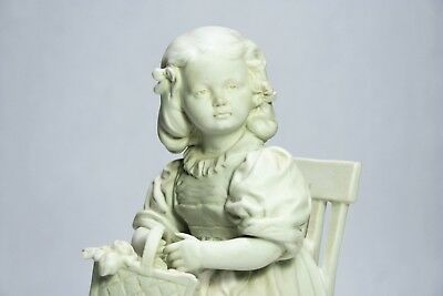 German Porcelain Figurine Signed Girl in Chair Victorian Era -Mystery Signature