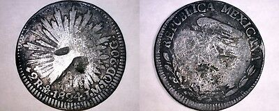 1824-Mo JM Mexican 2 Reales World Silver Coin - Mexico - Hookneck